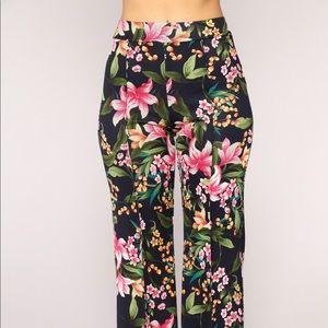 Pants - Floral high waist pants